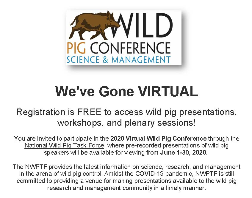 Wild Pig Conference register on National Wild Pig Task Force's website
